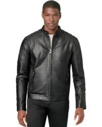 Calvin Klein Ck Premium Perforated Leather Jacket - Lyst