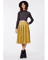 Missguided Auberta Pleated Midi Skirt Mustard - Lyst