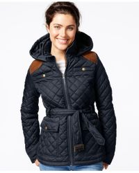 Krush - Hooded Belted Quilted Jacket - Lyst