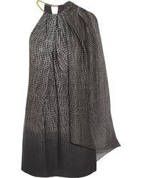 Halston Heritage One-shoulder Printed Crepe Mini Dress - Lyst