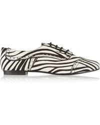 Balmain Embellished Zebra-print Calf Hair Loafers - Lyst