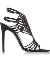 Rene Caovilla Black Sandals - Lyst