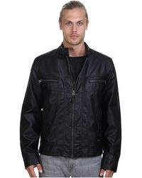 Calvin Klein Faux Leather Moto Jacket black - Lyst