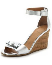 Marc By Marc Jacobs Logo Disc Wedge Sandals - Silver - Lyst