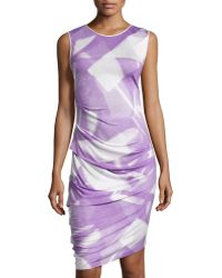 Halston Heritage Sleeveless Ruched Asymmetric-Hem Dress - Lyst