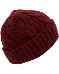 2a1cfc45e81 Oliver Spencer - Red Fleck Cable Knit Woolblend Beanie Hat - Lyst