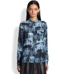 Proenza Schouler Spray-Print Silk Blouse - Lyst