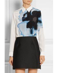 Victoria, Victoria Beckham Printed Silk Crepe De Chine And Jacquard Mini Dress - Lyst