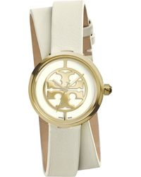 Tory Burch | Reva Goldtone Stainless Steel & Leather Double-wrap Strap Watch | Lyst