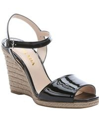 Prada Black Patent Leather And Jute Wedge Sandals - Lyst