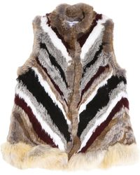 Elizabeth and James | Chevron Pattern Fur Gilet | Lyst