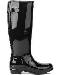 Hunter Original Back Adjustable Tall Gloss Rain Boots In Black - Lyst