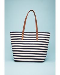Forever 21 Striped Faux Leather-Trimmed Tote - Lyst