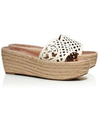 Tory Burch Thatched Perforated Wedge Slide - Lyst