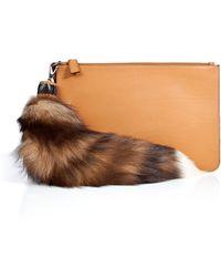 Emilio Pucci Leather Clutch with Fox Tassel - Lyst
