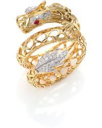 John Hardy Naga Diamond, Ruby & 18K Yellow Gold Dragon Coil Ring gold - Lyst