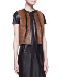 Ralph Lauren Black Label Fur Ellery Vest - Lyst