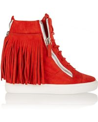 Giuseppe Zanotti Fringed Suede Wedge Sneakers - Lyst