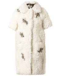 Erdem Anouk Embellished Shearling Coat - Lyst