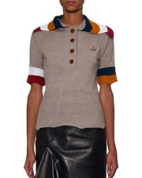 Vivienne Westwood Red Label - Contrast Striped-collar Knit Polo Shirt - Lyst