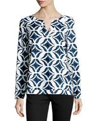 Diane Von Furstenberg Jaden Ikat Batik-print Voile Top - Lyst