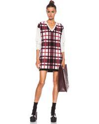 MSGM Plaid Knit Dress - Lyst