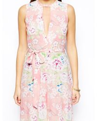 Asos Wide Leg Jumpsuit in Beautiful Floral Print - Lyst