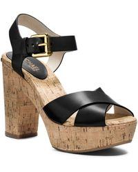 Michael Kors Natalia Leather Platform Sandal - Lyst