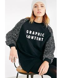 Lazy Oaf - Oversized Sweatshirt With Graphic Content Print & Contrast Sleeves - Lyst