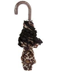 Oasis - Leopard Frill Crook Umbrella - Lyst