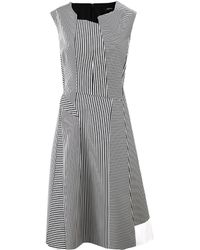 Jil Sander Navy Asymmetric Neckline Stripe Dress - Lyst