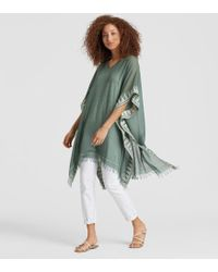 Eileen Fisher - Exclusive Handwoven Organic Cotton Silk Poncho - Lyst