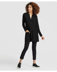 Eileen Fisher - Lightweight Viscose Jersey Mandarin Collar Tunic - Lyst