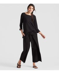 Eileen Fisher - Washable Stretch Crepe Tie-front Cropped Pant - Lyst