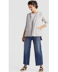 Eileen Fisher - Heathered Organic Cotton Jersey Hooded Cardigan - Lyst