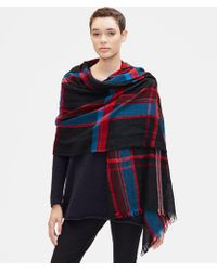 Eileen Fisher - Cosy Chenille Plaid Scarf - Lyst