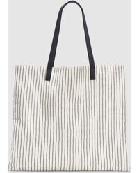 Eileen Fisher - Cotton Canvas Stripe Oversized Tote - Lyst