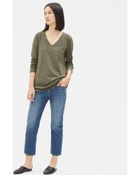 Eileen Fisher - Organic Cotton Striped V-neck Top - Lyst