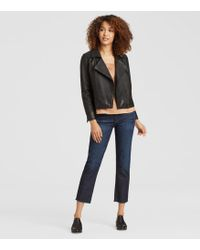 Eileen Fisher - Rumpled Luxe Leather Moto Jacket - Lyst