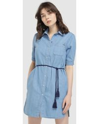 938345c427 Lyst - Pepe Jeans Laura Blue Soul Print Dress in Blue