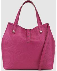 Gloria Ortiz - Mini Sofia Stamp Fuchsia Embossed Leather Shopper Bag With An Inner Pocket - Lyst