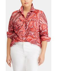 Denim & Supply Ralph Lauren - Plus-size Coral Paisley Print Blouse - Lyst