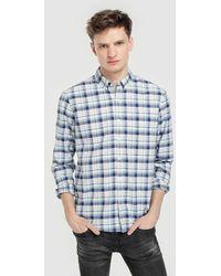 Green Coast - Slim-fit Blue Checked Oxford Shirt - Lyst