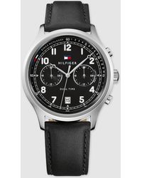 Tommy Hilfiger - 1791388 Black Leather Multi-function Watch - Lyst