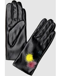 Guess - Black Gloves With Two-tone Pompoms - Lyst