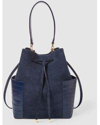 Lauren by Ralph Lauren - Navy Blue Suede And Leather Bucket Bag With Mock-croc Details - Lyst