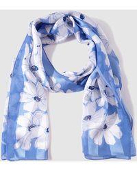 Lauren by Ralph Lauren - Blue And White Printed Silk Foulard - Lyst