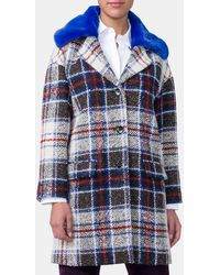 Mirto - Oversized Coat With Removable Faux Fur Collar - Lyst