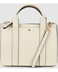 El Corte Inglés - Small Beige Handbag With Front Strap With Top Stitching - Lyst