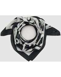 Gloria Ortiz - Black Silk Handkerchief With Brand Emblem Print - Lyst